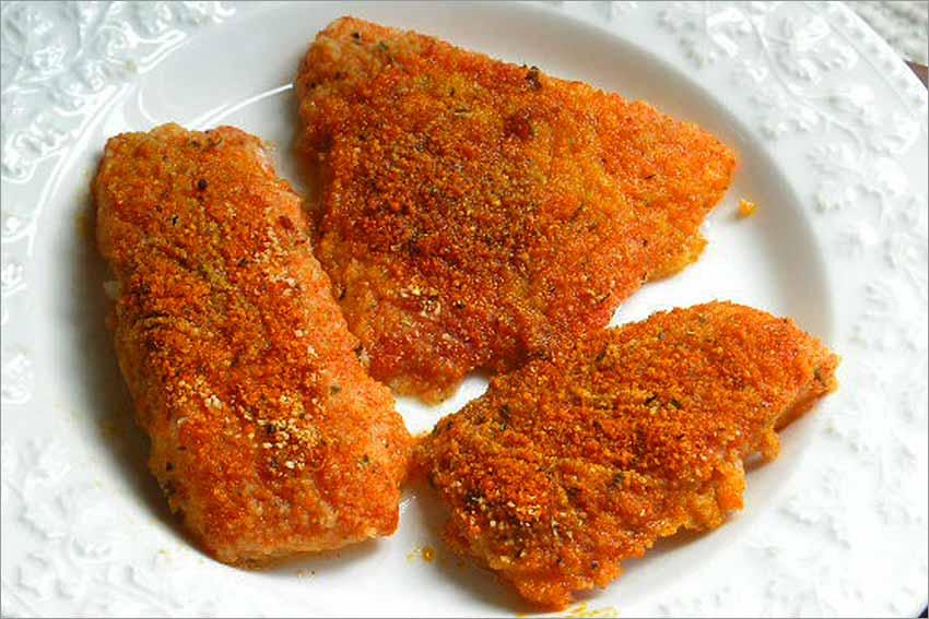 Bacalao rebozado con pimentón al horno