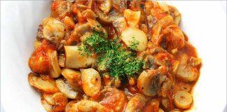 Receta de champiñones con tomate fácil y rápida
