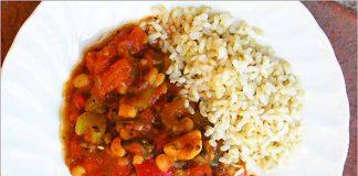 Receta de chili vegetariano con arroz fácil y rápida