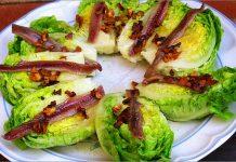 Receta de cogollos con fritada de ajos fácil y rápida