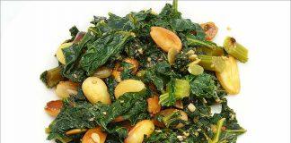 Receta de col kale con almendras fácil y rápida