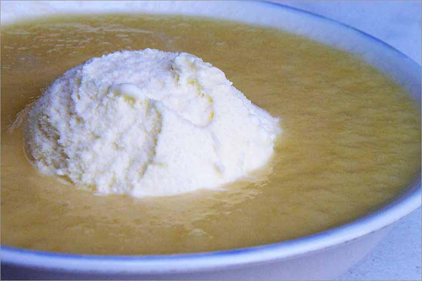Crema de melón con helado
