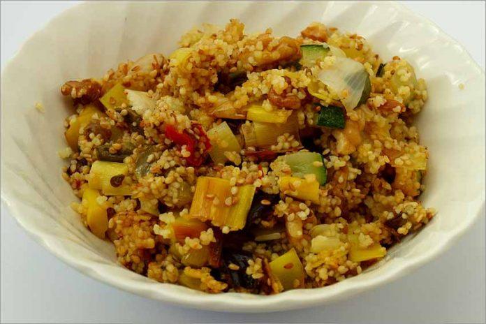 Receta de cuscús con nueces y verduras fácil y rápida