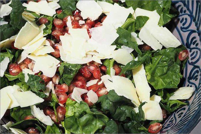 Receta de ensalada de espinacas y granada