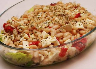 Receta de ensalada de judías con queso feta fácil y rápida