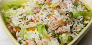 Receta de ensalada ilustrada de arroz fácil y rápida