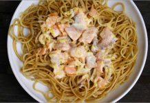 Receta de espaguetis con salmón ahumadofácil y rápida