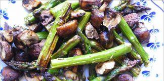 Receta de espárragos y champiñones al horno fácil y rápida