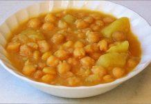 Receta de garbanzos con patatas fácil y rápida
