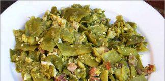 Receta de judías verdes con huevo y jamón fácil y rápida
