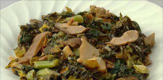 Receta de kale con setas fácil y rápida