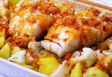 Receta de lomos de bacalao con patatas y coliflor fácil y rápida