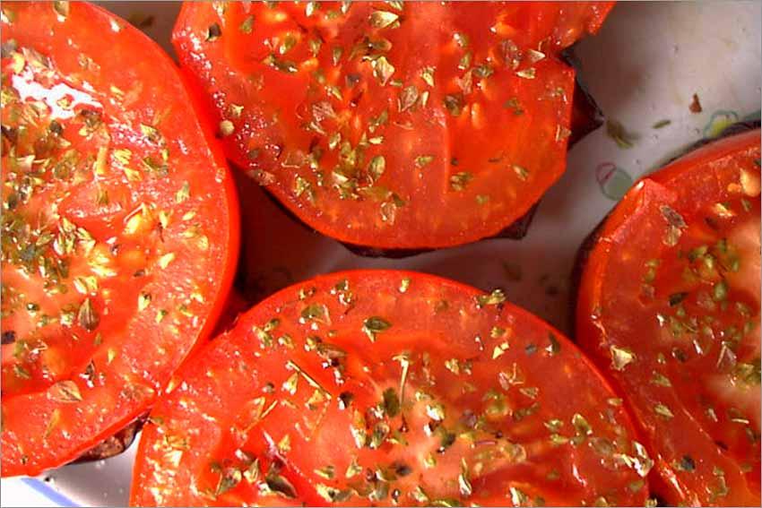 Montados de berenjena y tomate