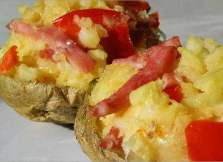Receta de patatas rellenas con jamón y queso fácil y rápida