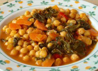 Receta de potaje de garbanzos con verduras fácil y rápida