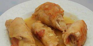 Receta de rollitos de pavo con jamón fácil y rápida