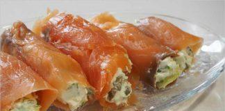 Receta de rollitos de salmón y queso fácil y rápida