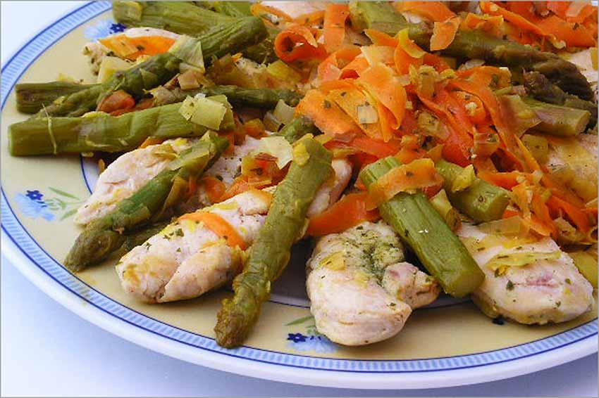 pollo salteado con verduras light