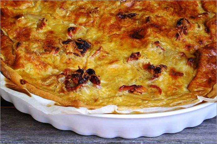 Receta de tarta de queso y tomate fácil y rápida