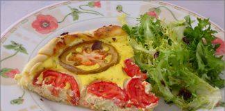 Receta de tarta de requequesón y tomate fácil y rápida