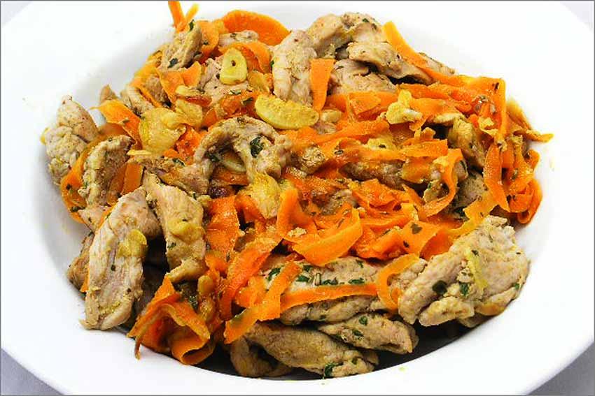 Tiras de solomillo con zanahorias