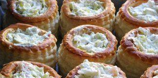 Receta de volovanes con gambas y crema de queso fácil y rápida