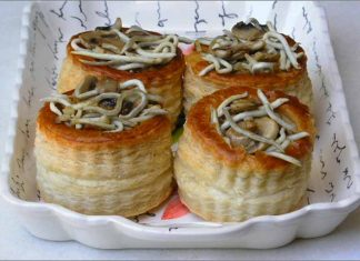 Receta de volovanes de champiñones y gulas fácil y rápida